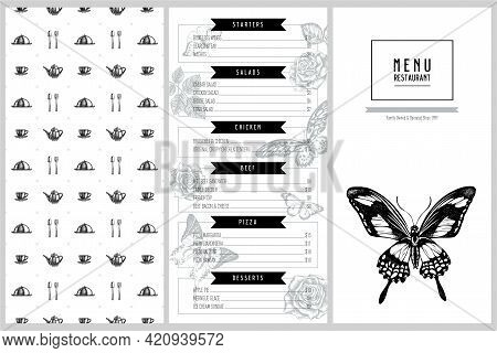 Vintage Menu Design With Giant Swordtail, African Giant Swallowtail, Great Orange-tip, Plain Tiger,