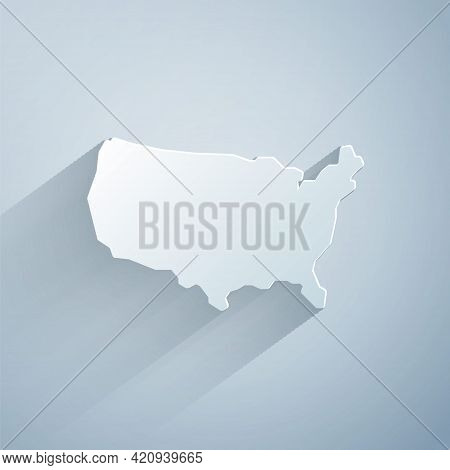 Paper Cut Usa Map Icon Isolated On Grey Background. Map Of The United States Of America. Paper Art S