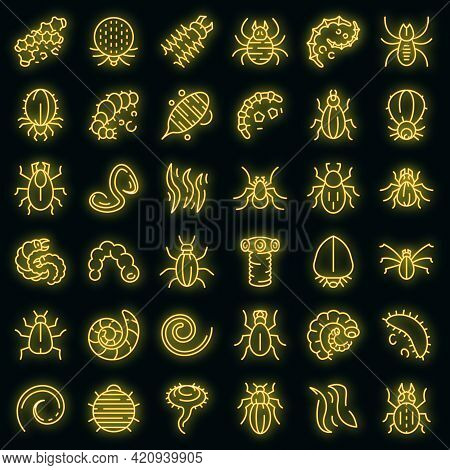 Parasite Icons Set. Outline Set Of Parasite Vector Icons Neon Color On Black