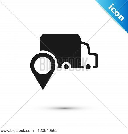 Grey Delivery Tracking Icon Isolated On White Background. Parcel Tracking. Vector