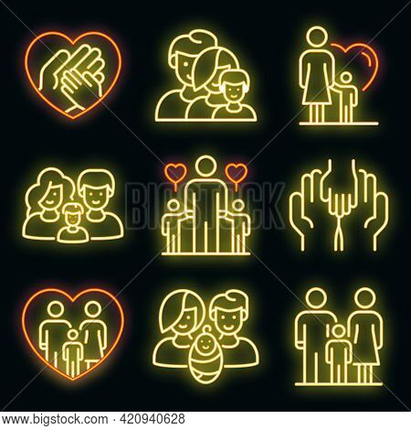 Foster Family Icons Set. Outline Set Of Foster Family Vector Icons Neon Color On Black