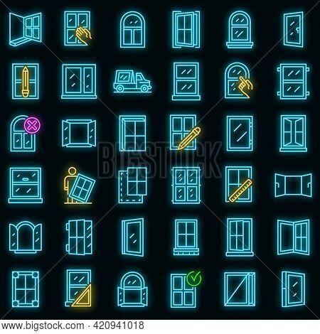 Window Installation Icons Set. Outline Set Of Window Installation Vector Icons Neon Color On Black