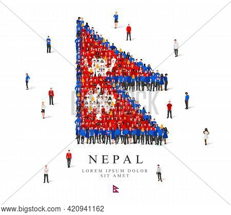 A Large Group Of People Are Standing In Blue, White And Red Robes, Symbolizing The Flag Of Nepal. Ve