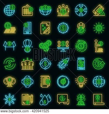 Crowdfunding Platform Icons Set. Outline Set Of Crowdfunding Platform Vector Icons Neon Color On Bla