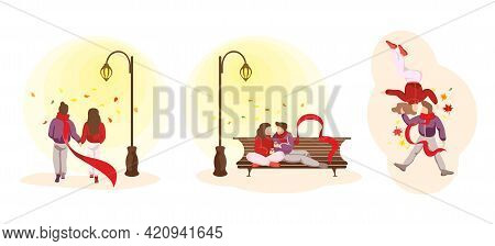 Young Happy Couple In Love Spend Autumn Fall Time Together In Various Relationship Scenes. Man And W