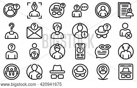 Anonymous Icons Set. Outline Set Of Anonymous Vector Icons For Web Design Isolated On White Backgrou