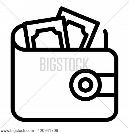 Wallet Cash Icon. Outline Wallet Cash Vector Icon For Web Design Isolated On White Background