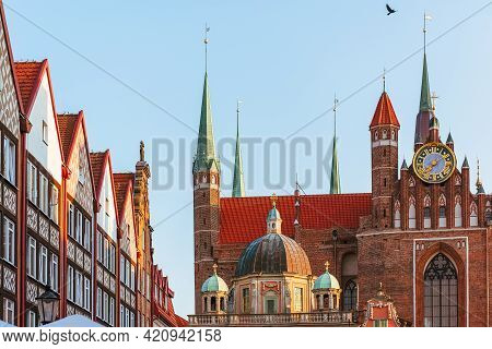 Gdansk Old Town And View Of The Saint Mary Church In The Summer Sunny Morning, Gdansk, Poland