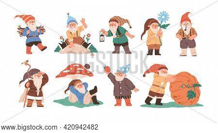 Happy Cute Little Gnomes In Autumn. Funny Bearded Garden Dwarfs With Lantern, Flower, Pipe, Mushroom