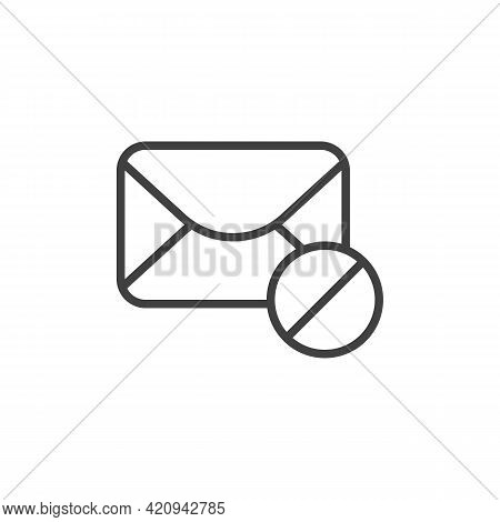 Spam Email Line Icon. Linear Style Sign For Mobile Concept And Web Design. Blocked Mail Outline Vect