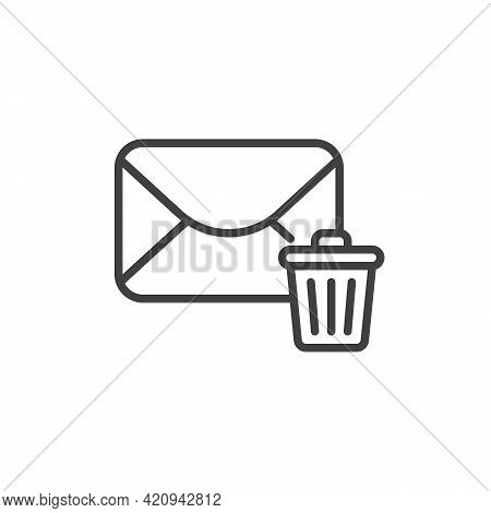 Delete Email Line Icon. Linear Style Sign For Mobile Concept And Web Design. Delete Message Outline
