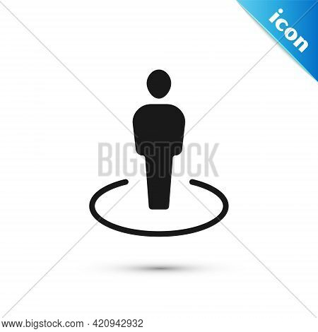 Grey Map Marker With A Silhouette Of A Person Icon Isolated On White Background. Gps Location Symbol
