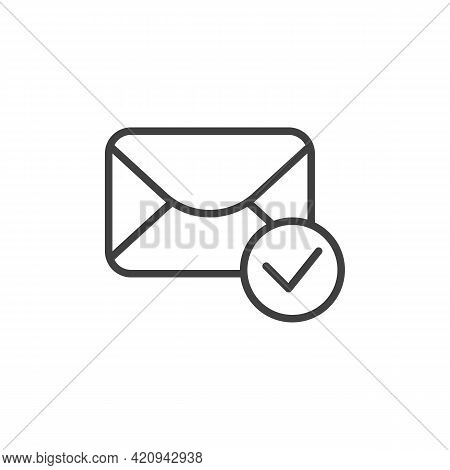 Received Email Message Line Icon. Linear Style Sign For Mobile Concept And Web Design. Envelope Mail