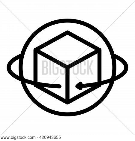 Vr Rotation Icon. Outline Vr Rotation Vector Icon For Web Design Isolated On White Background
