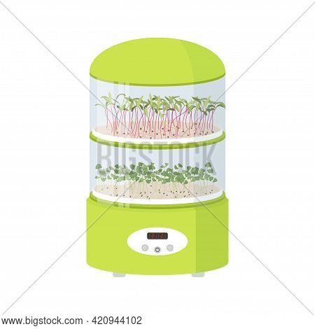 Germinator With Sprout Trays For Micro Greens. Healthy Seeds Grower For Garden, Home, Office. Sprout