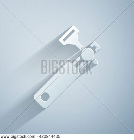 Paper Cut Jewelers Lupe For Diamond Grading With Dimond Icon Isolated On Grey Background. Paper Art