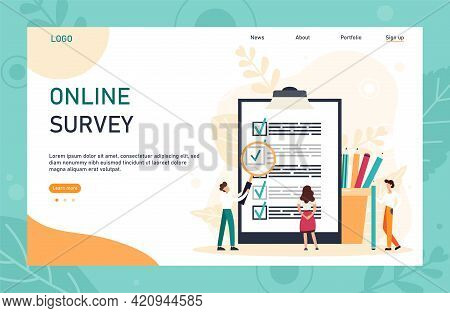 Character Filling Online Survey Form On Huge Clipboard. Business Concept With Tiny People. Internet
