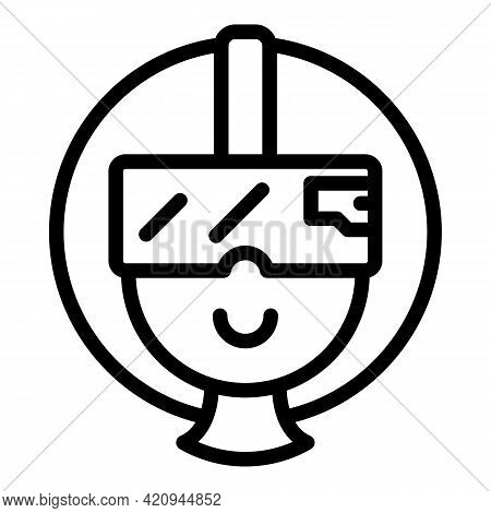 Man Virtual Headset Icon. Outline Man Virtual Headset Vector Icon For Web Design Isolated On White B
