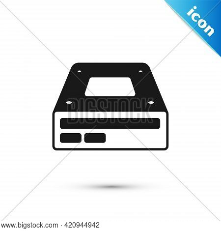 Grey Optical Disc Drive Icon Isolated On White Background. Cd Dvd Laptop Tray Drive For Read And Wri