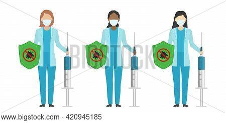 Multiethnic Group Of Doctors. Covid-19 Vaccine Concept. Vector Illustration.