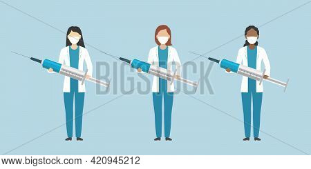 Multiethnic Group Of Medical Officers. Vector Illustration.