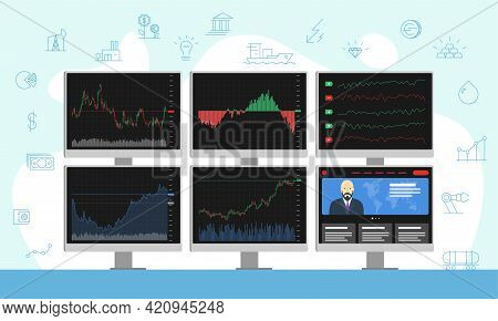 Stock Market Trader Multiple Computer Monitors With Financial Charts, Diagrams, Graphs And News. Bus