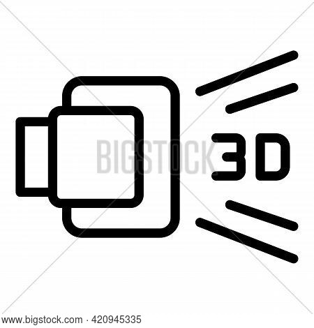3d Visual Icon. Outline 3d Visual Vector Icon For Web Design Isolated On White Background