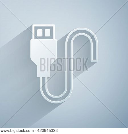Paper Cut Usb Cable Cord Icon Isolated On Grey Background. Connectors And Sockets For Pc And Mobile