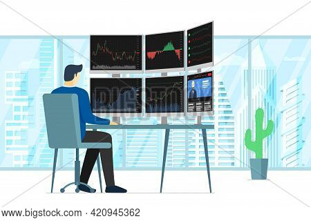 Stock Market Male Trader In Office Looking At Multiple Computer Screens With Financial Charts, Diagr