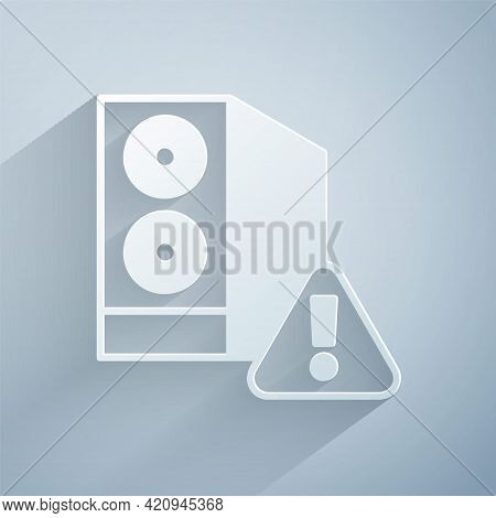 Paper Cut Case Of Computer With Exclamation Mark Icon Isolated On Grey Background. Computer Server.