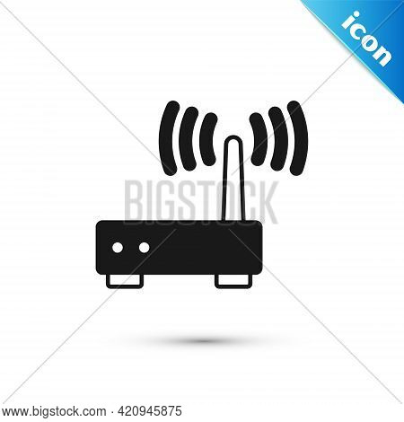 Grey Router And Wi-fi Signal Icon Isolated On White Background. Wireless Ethernet Modem Router. Comp