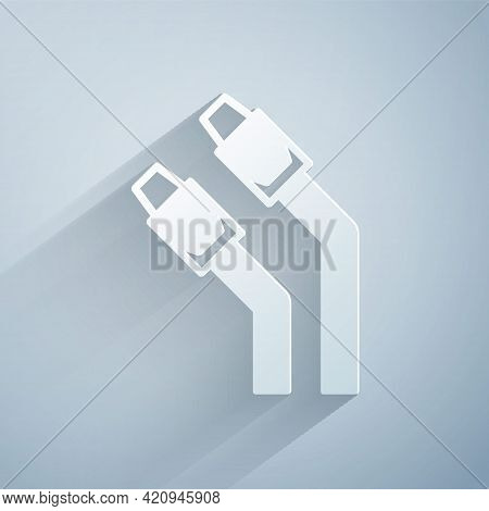 Paper Cut Lan Cable Network Internet Icon Isolated On Grey Background. Paper Art Style. Vector