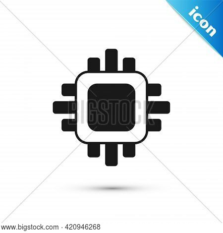 Grey Computer Processor With Microcircuits Cpu Icon Isolated On White Background. Chip Or Cpu With C