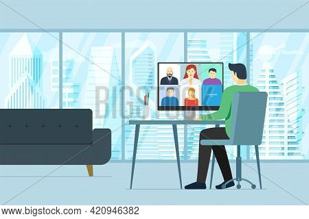 Man In Office And People Group On Desktop Monitor Taking Part Online Conference. Virtual Work Meetin