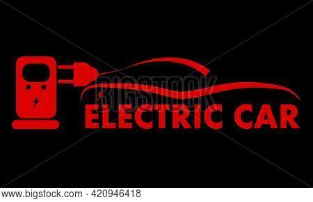 Electro Car Charging Logo, Vector Art Illustration.