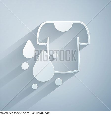 Paper Cut Dirty T-shirt Icon Isolated On Grey Background. Paper Art Style. Vector