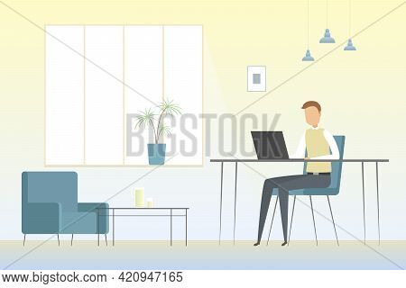 Employee Working Alone In Office. Vector Illustration.