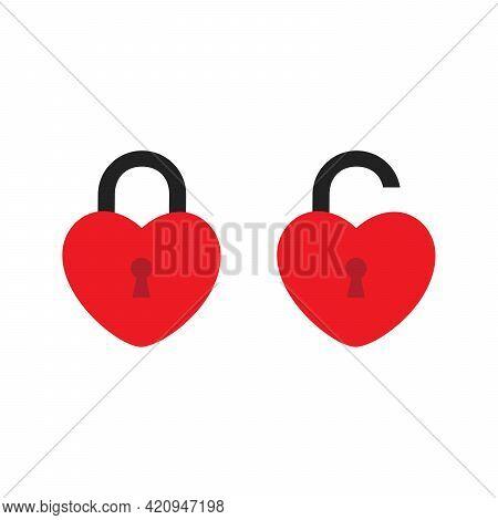 Icon Of Locked And Unlocked Heart Shape Lock On White Background. Set Of Locked And Unlocked Heart S