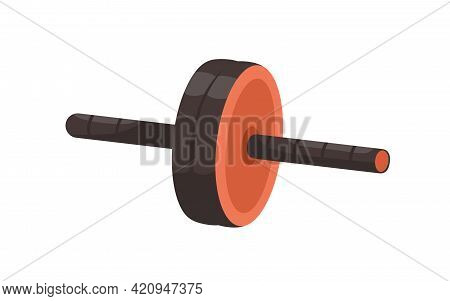 Manual Compact Double-wheeled Roller With Handles For Abs Training. Home And Gym Gymnastic Equipment