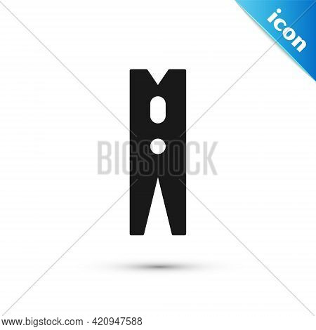 Grey Old Wood Clothes Pin Icon Isolated On White Background. Clothes Peg. Vector