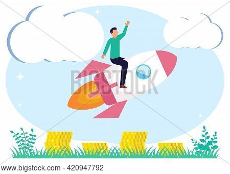 Vector Illustration Of Startup Project Launch With Innovative Entrepreneurial Concept, Businessperso