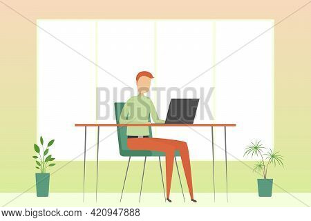 Man Working Alone In Office. Vector Illustration.
