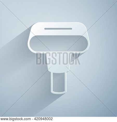 Paper Cut Portable Home And Travel Garment Steamer For Clothes Icon Isolated On Grey Background. Pap