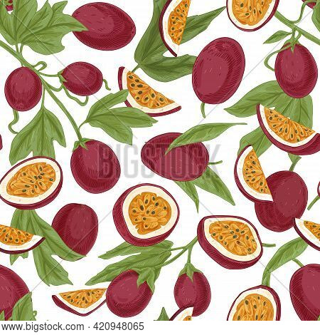Seamless Pattern With Passionfruits And Leaves On White Background. Repeatable Texture With Realisti