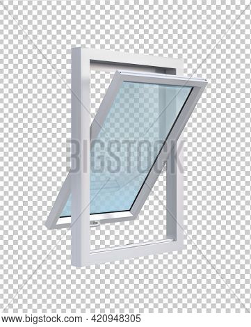Open White Window In Side View On Transparent Background Vector Illustration.