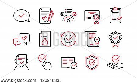 Approve Line Icons. Checklist, Certificate And Award Medal. Thumbs Up Certified Document Linear Icon