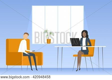 Secretary And Visitor In Reception Room. Vector Illustration.