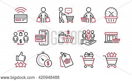 Buyer Customer Line Icons Set. Shopping Cart , Contactless Payment And Group Of People. Store, Buyer