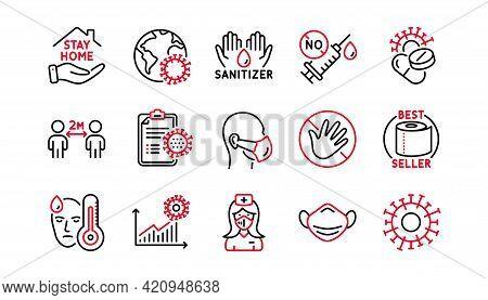 Coronavirus Line Icons Set. Washing Hands Hygiene, Medical Mask, Protective Glasses. Stay Home, Hand