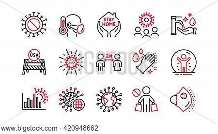 Coronavirus Line Icons Set. Covid-19 Virus Pandemic. Medical Protective Mask, Washing Hands Hygiene,